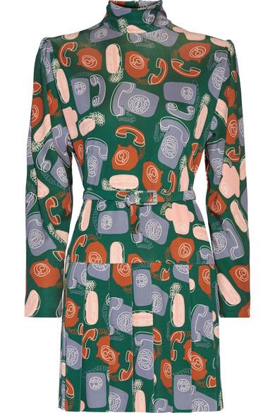 Miu Miu Belted Printed Jersey Mini Dress In Multicoloured