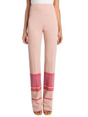 Miu Miu High-Waist Striped Pants In Beige