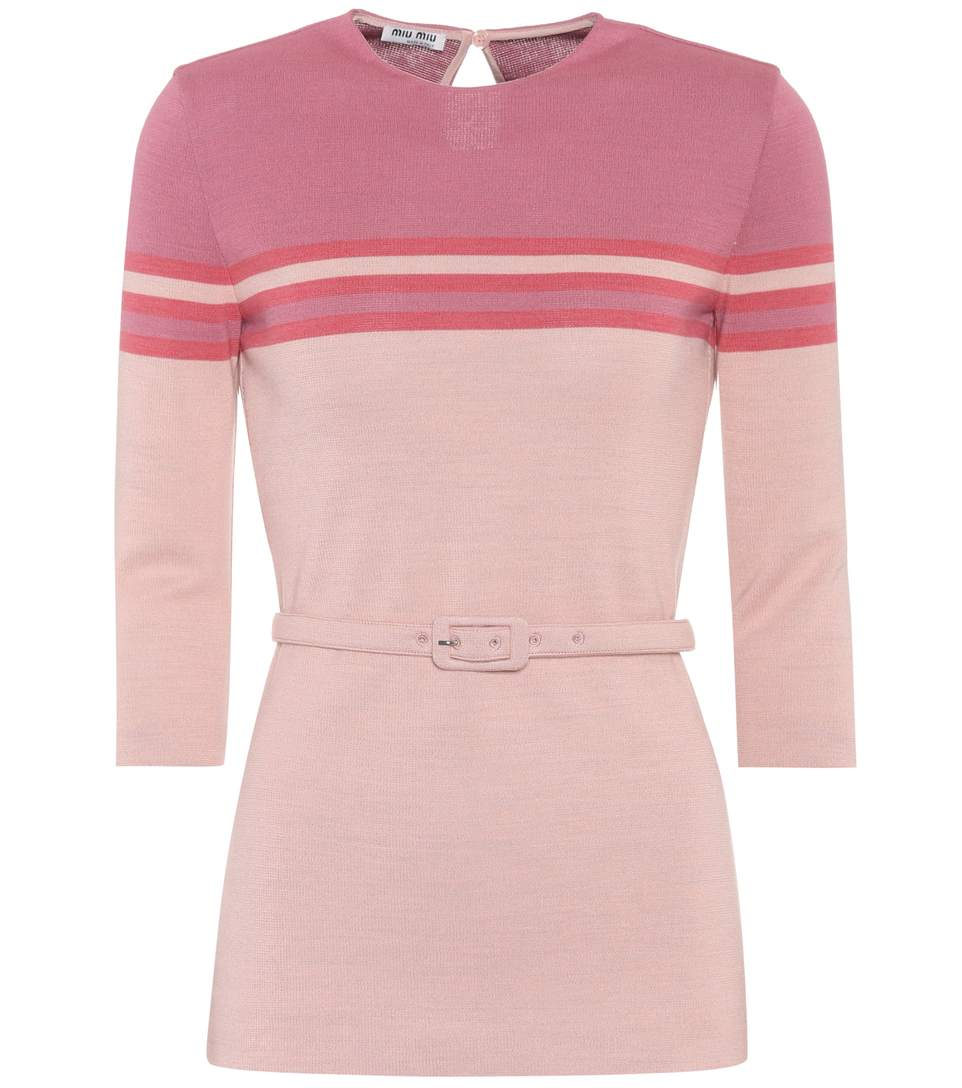 Miu Miu Embellished Jersey Wool Pullover In Pink