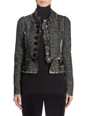 Dolce & Gabbana Floral-Seam Tweed Cropped Jacket In Black