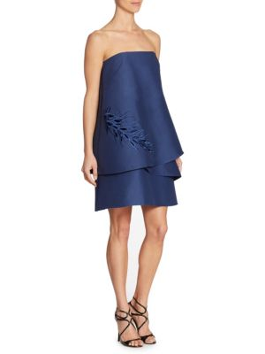 Halston Heritage Strapless Tiered Embroidery Detail Dress In Navy