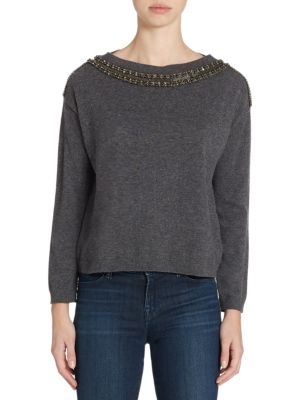 The Kooples Embellished Sweater In Grey