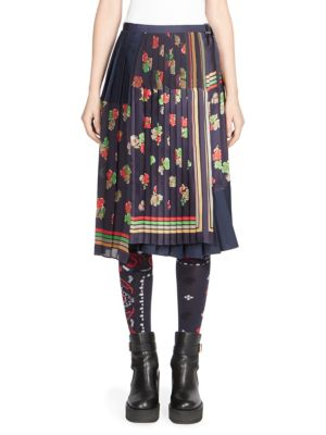 Sacai Floral Print Pleated Patchwork Wrap Skirt In Navy