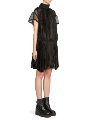 Sacai Pleated And Crochet Detail Dress In Black