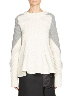 Sacai Cable-Knit Roundneck Pullover In White Multi