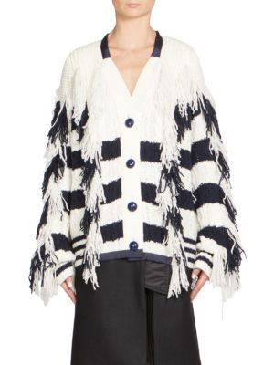 Sacai Striped Wool-Blend Oversized Cardigan In Navy Stripe
