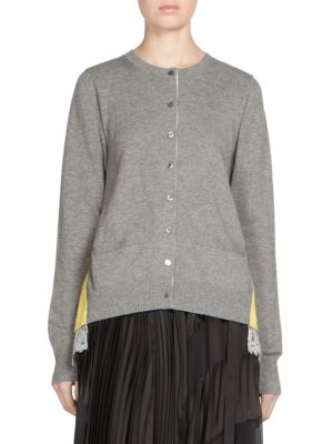 Sacai Crewneck Contrast Back Cardigan In Light Grey
