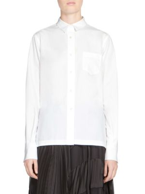 Sacai Button-Front Lace Shirt In White