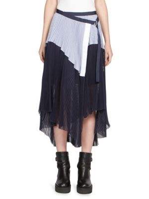 Sacai Asymmetric Pleated Striped Cotton And Chiffon Wrap Skirt In Navy Stripe