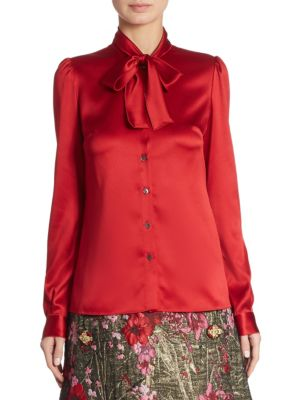 Dolce & Gabbana Pussy-Bow Silk-Blend Satin Blouse In Red