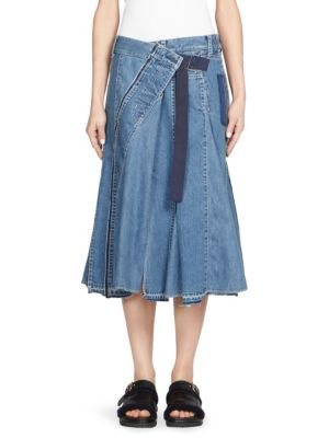 Sacai Belted Asymmetric Wrap Denim Skirt In Light Blue