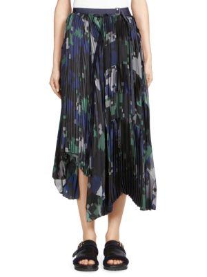 Sacai Asymmetric Printed PlissÉ-Georgette Wrap Midi Skirt In Black Navy