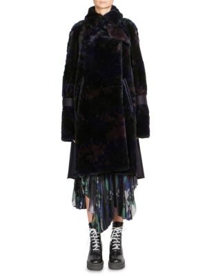 Sacai Digital Camouflage Coat In Black Navy