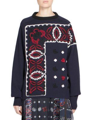 Sacai Bandana Pattern Sweater In Navy