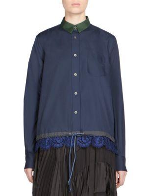 Sacai Lace Trim Drawstring Shirt In Navy