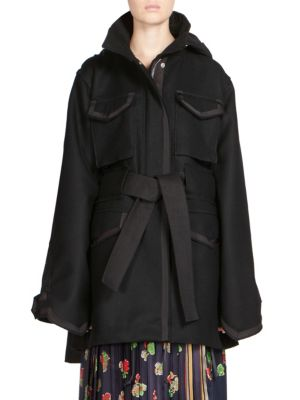 Sacai Oversized Belted Coat In Black