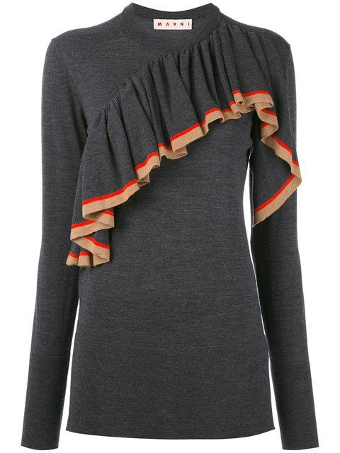 Marni Knitted Jersey Ruffle Top In Multicolor