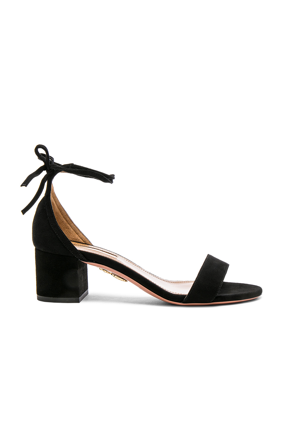 Aquazzura Suede City Sandal Heels In Black