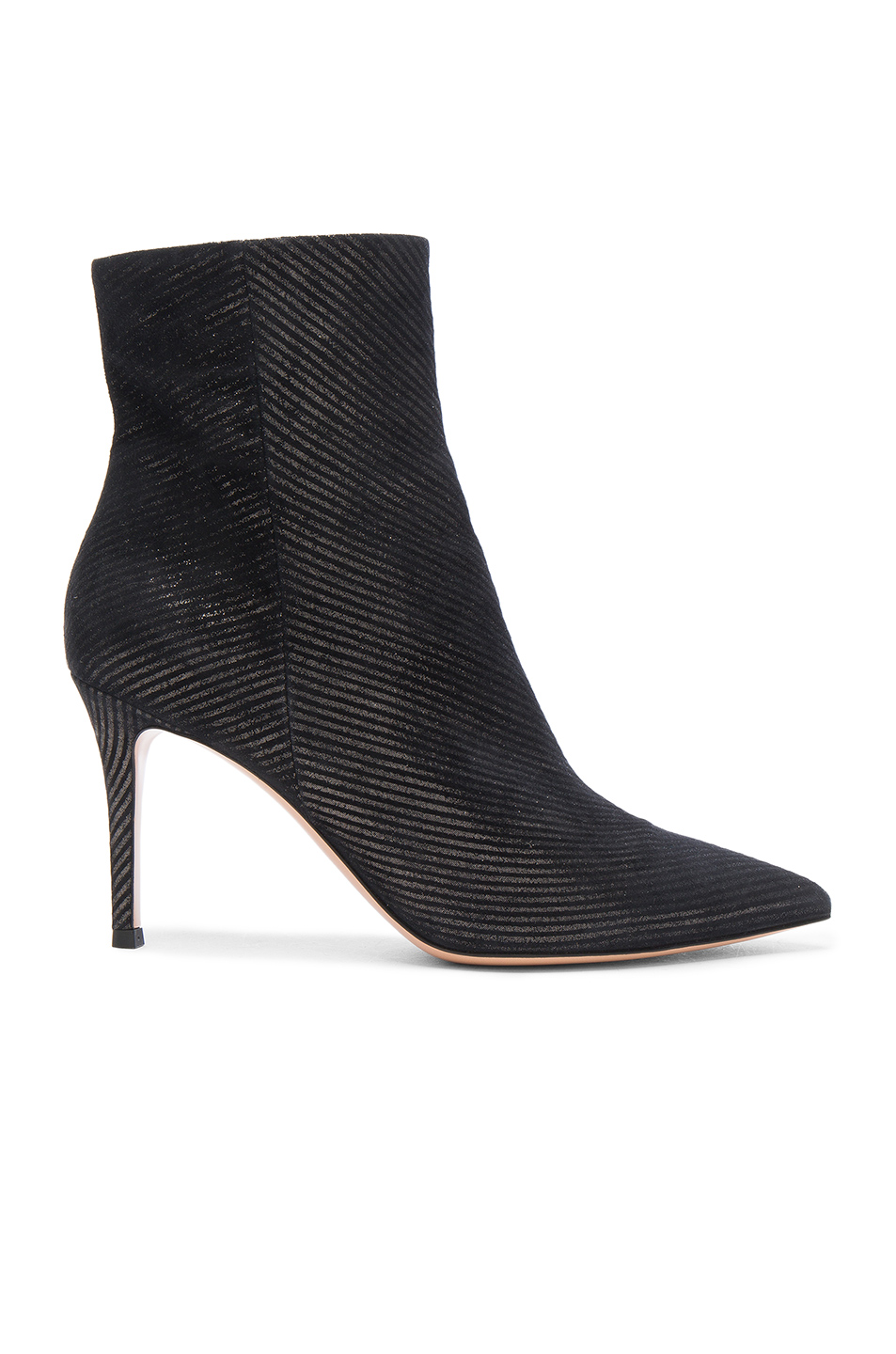 Gianvito Rossi Metallic Pinstripe Booties In Metallics,Black,Stripes