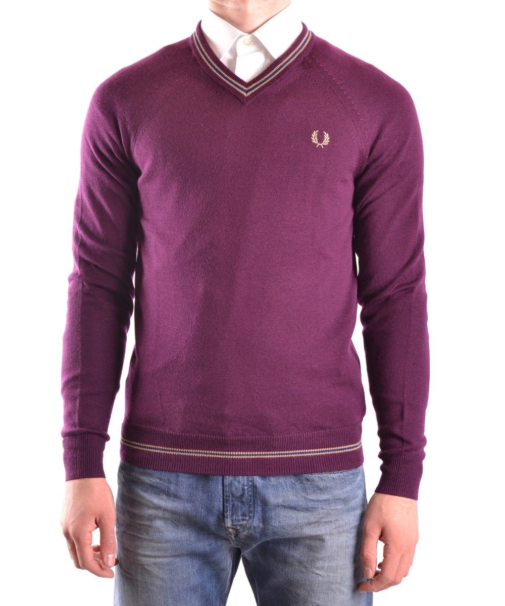 Fred Perry Men's  Burgundy Wool Sweater In Red