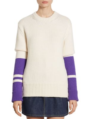 Calvin Klein Collection Striped Wool Chunky Pullover In Blanc Purple