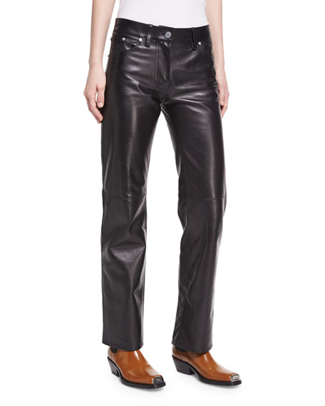 Calvin Klein Collection Leather Straight-Leg Jeans In White