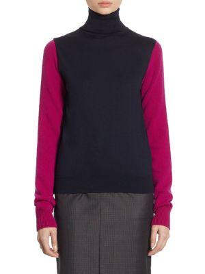 Calvin Klein Collection Cold-Shoulder Bicolor Merino Wool Turtleneck Top In Navy Orchid