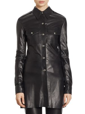 Calvin Klein Collection Leather Snap-Front Utility Shirt In Black
