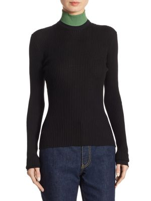 Calvin Klein Collection Colorblock Ribbed Turtleneck Sweater, White In Black Algue
