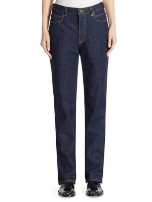 Calvin Klein Collection High-Rise Straight Cotton Jeans In Blue
