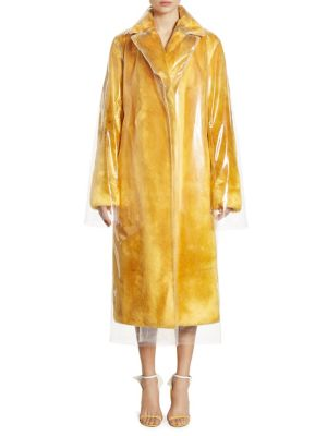 Calvin Klein Collection Plastic-Covered Faux-Fur Trench Coat In Yellow