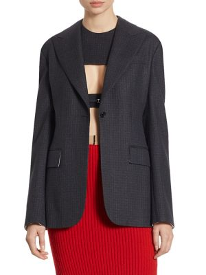 Calvin Klein Collection Wool Checked Jacket In Navy Blue