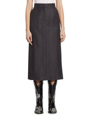 Calvin Klein Collection Plaid Wool-Silk Midi Skirt In Charcoal Burnout