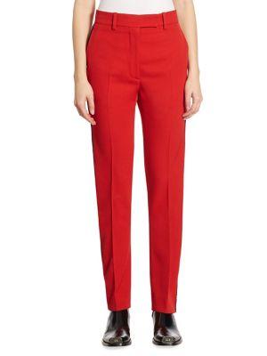 Calvin Klein Collection Side-Stripe Wool Twill Pants In Crimson