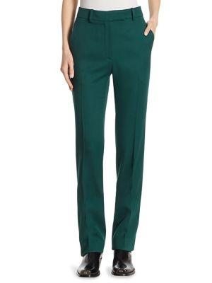 Calvin Klein Collection Side-Stripe Wool Twill Pants In Dark Green