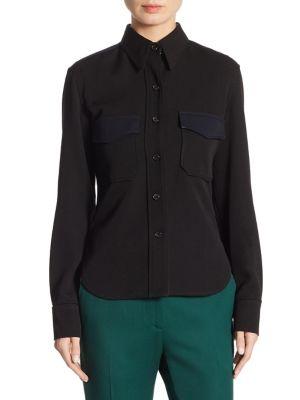 Calvin Klein Collection Wool Twill Western Shirt In Black/Blue
