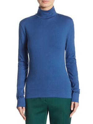 Calvin Klein Collection Turtleneck Cotton Pullover In Cobalt