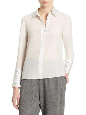 Alice And Olivia Alice + Olivia Runie Contrast-Stripe Shirt In Off White Black