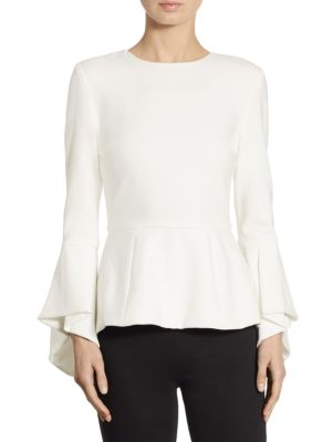 Alice And Olivia Alice + Olivia Ruby Trumpet-Sleeve Peplum Blouse In Off White