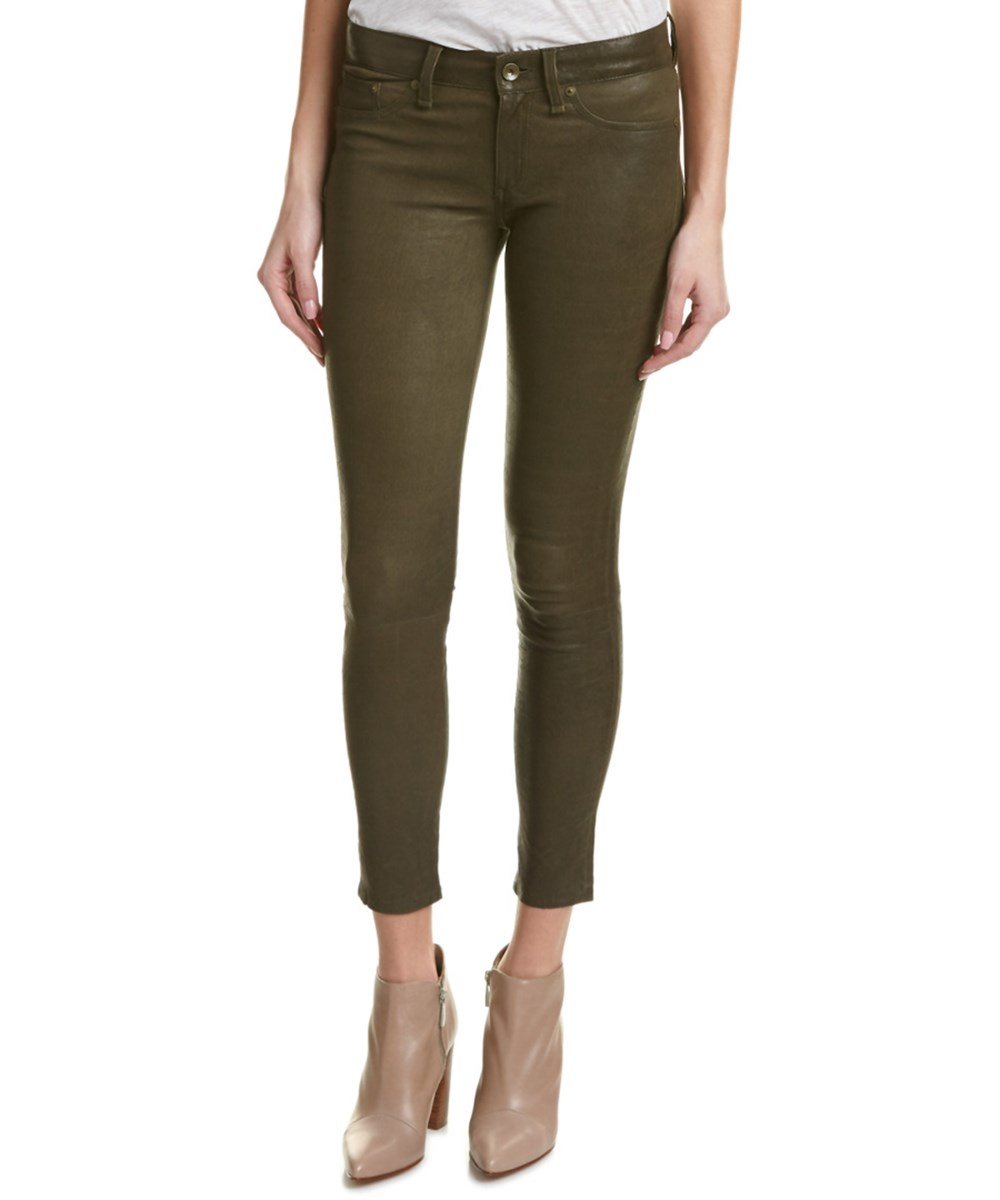 Rag & Bone /Jean Army Leather Skinny Leg In Green