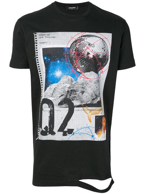Dsquared2 Star Trekking' Print T-Shirt In Nero