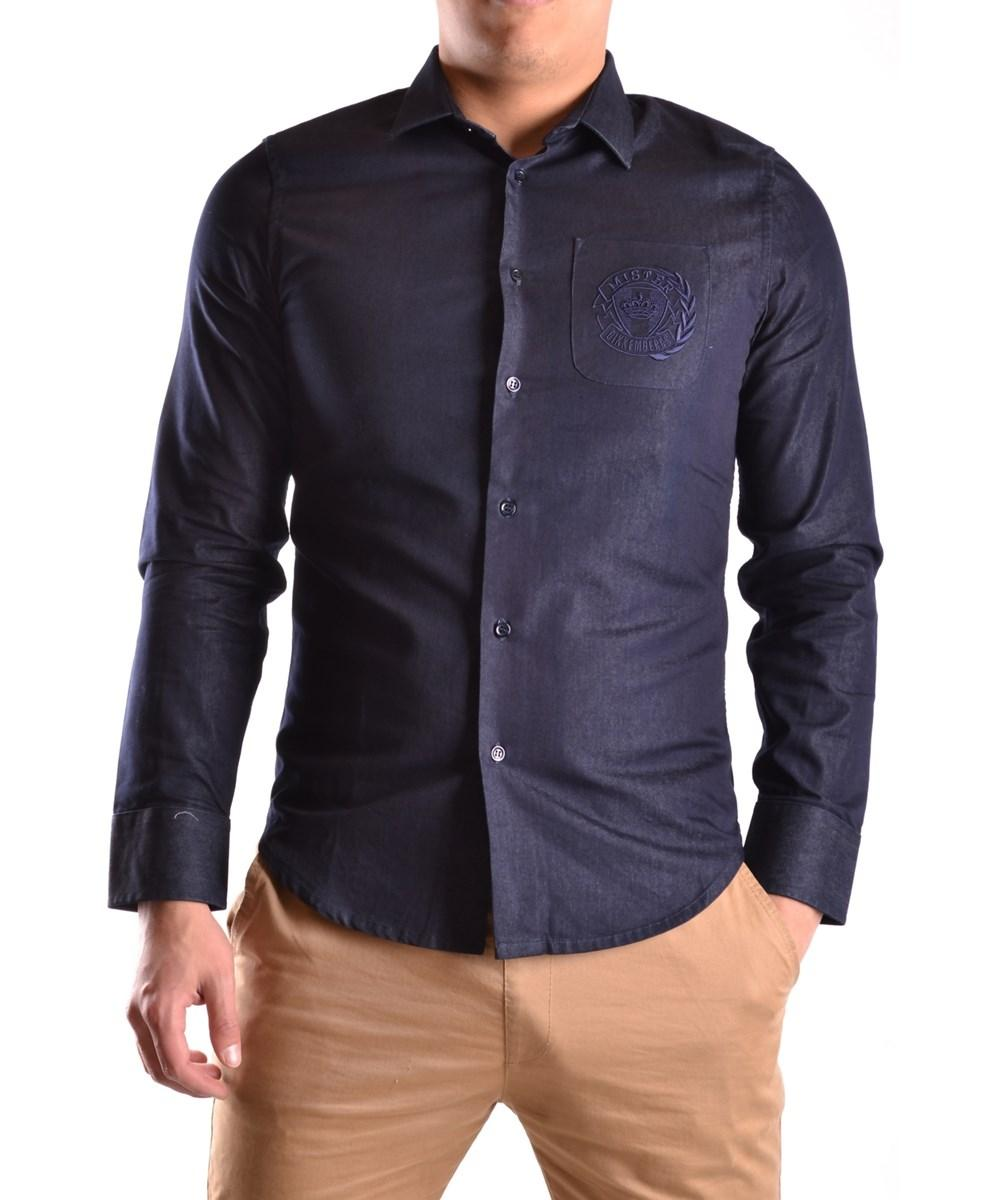 Bikkembergs Men's  Blue Cotton Shirt