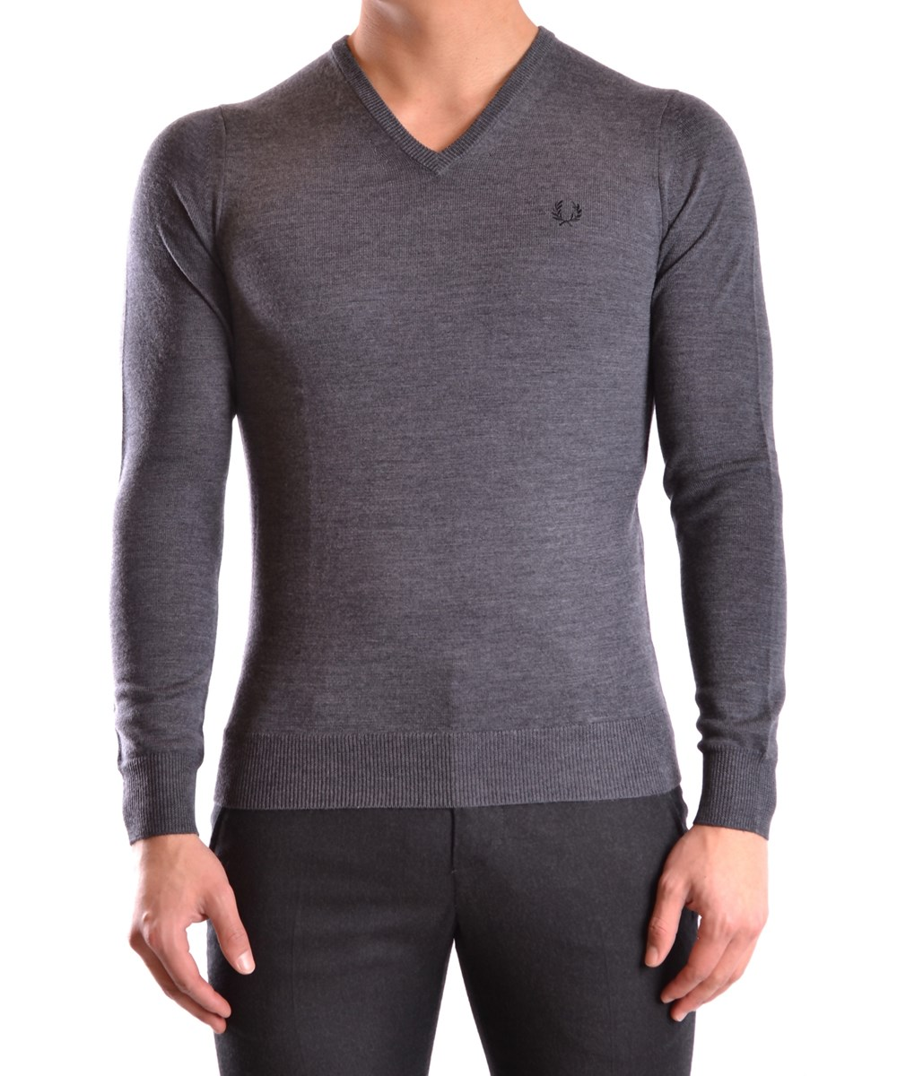Fred Perry Men's  Grey Wool Sweater