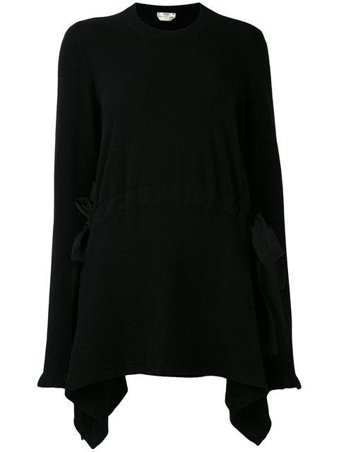 Fendi Cashmere Asymmetrical Lace-Up Detail Pullover In Black