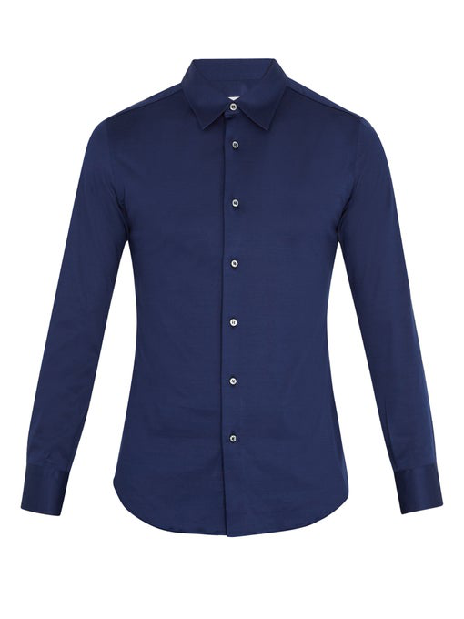 Brioni Long-Sleeved Cotton-Jersey Shirt In Navy