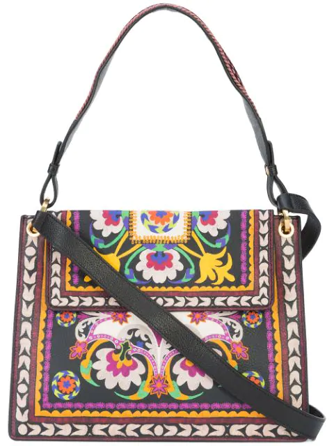 Etro Printed Leather Shoulder Bag In Multicolour