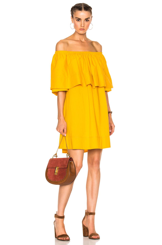 Apiece Apart Piper Petal Off-The-Shoulder Dress In Yellow
