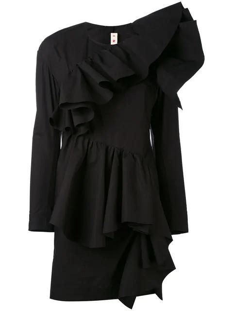 Marni Gathered-Ruffle Long-Sleeved Cotton Mini Dress In Black