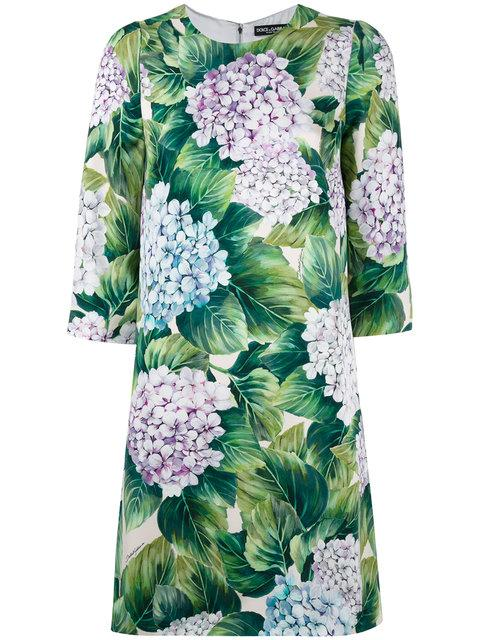 Dolce & Gabbana Hydrangea Print Shift Dress In Ortensia Fondo Panna