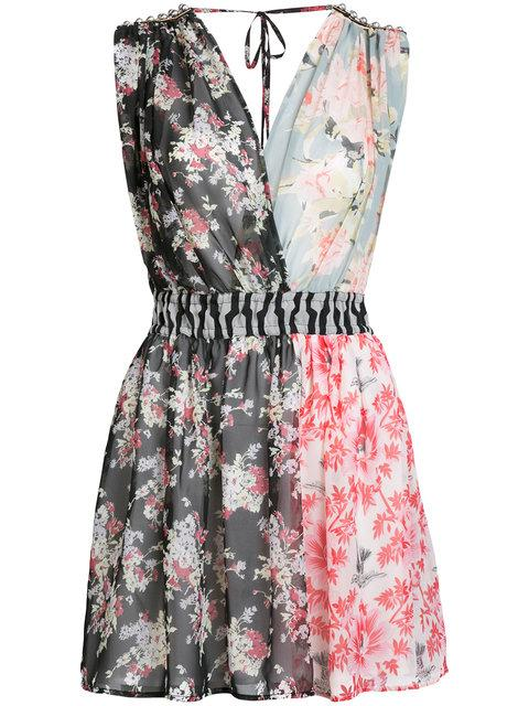 Amen Patched Floral Sleeveless Dress In Multicolor